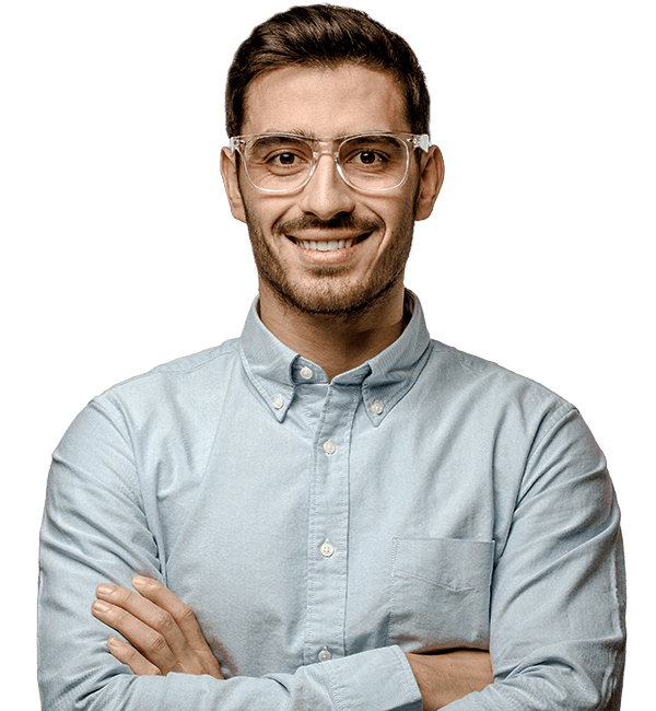 Man with prescription glasses