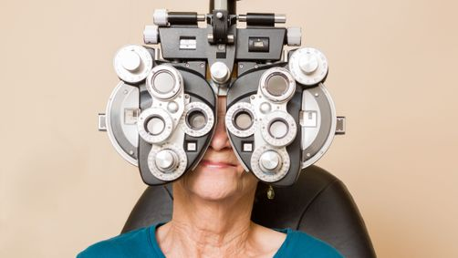 Receiving an eye exam in Edmonton at Optometrist's Clinic