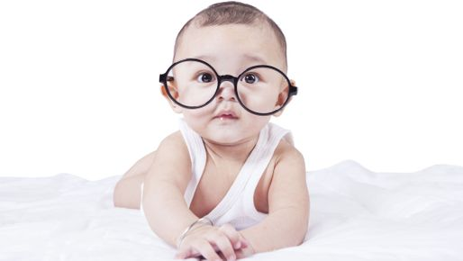 1d888fdd3c6 pediatric eye exams for infants  a baby wearing comically large glases